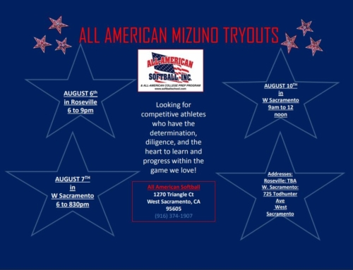 All American Mizuno Tryouts – August 6th – 10th!